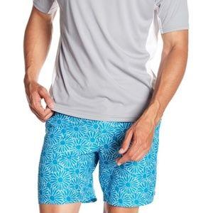 Beach Bros. Blue floral Swim Trunk Board Shorts